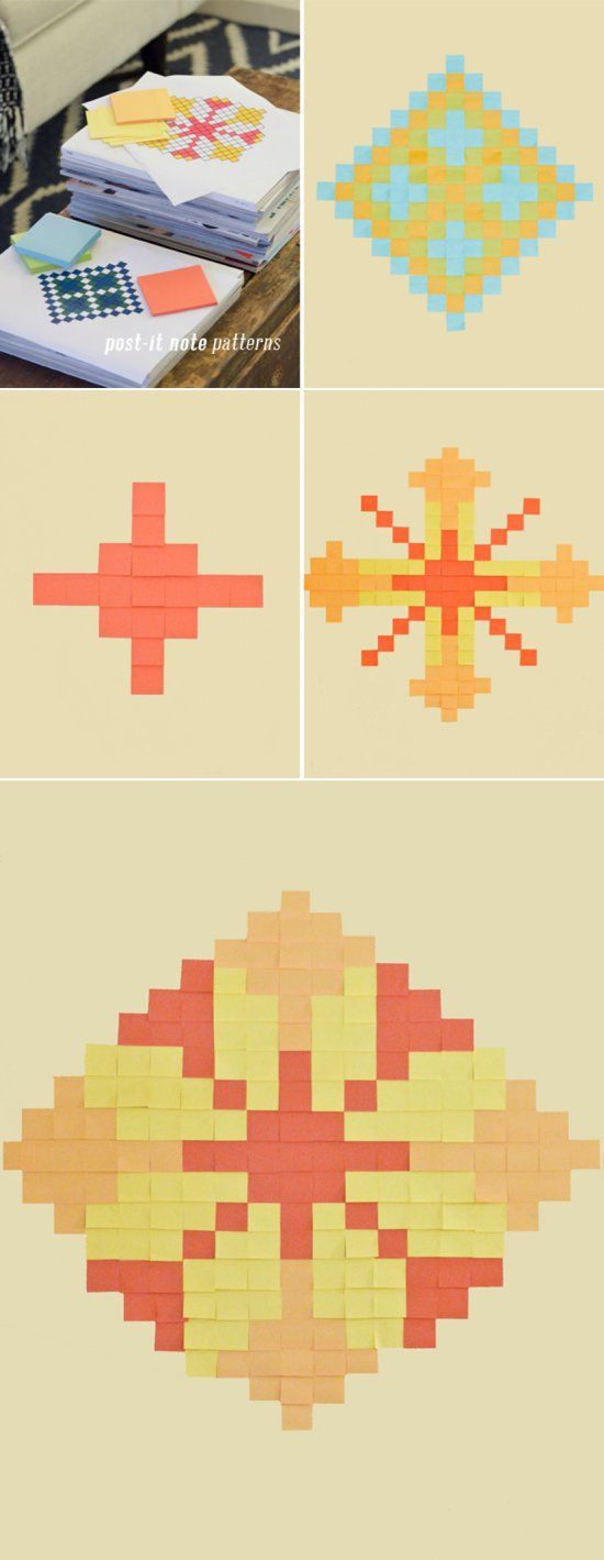{Playful Math: PRINTABLE Post-It Note Patterns} Not only develops geometry skills and spatial intelligence, but nurtures creativity and a strong sense of design.
