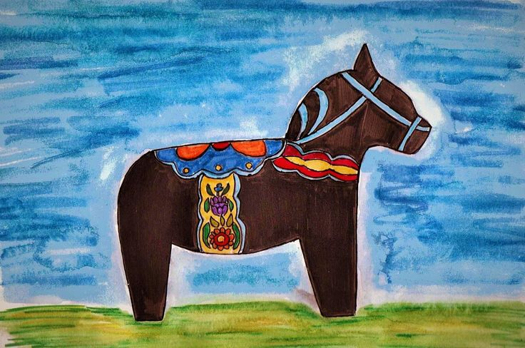 These A4 illustrations, titled Dala Horses, are inspired by the decorative wooden horses (Dalahäst) from the Dalarna (Dalecarlia) region of Sweden. They were created using aquamarkers. #dalahorse #dalahäst #illustration #drawing #art #artwork