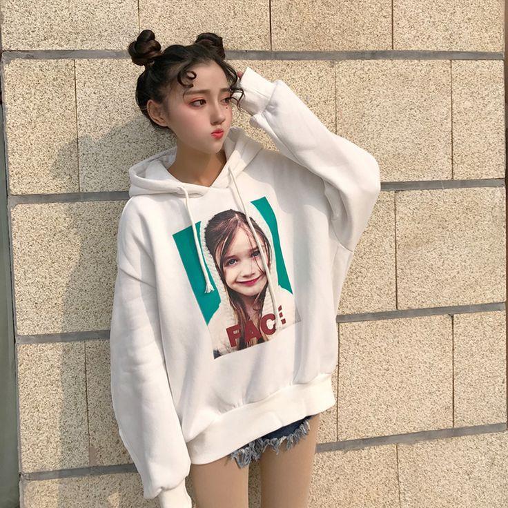 韓国 原宿系 ファッション レディースオシャレプリント 長袖 パーカーフード付き