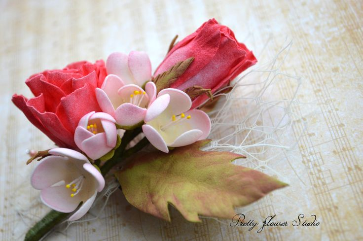 Brooch, Boutonnière, Flower Accessories, Rose, Freesia, Wedding, Gift - pinned by pin4etsy.com