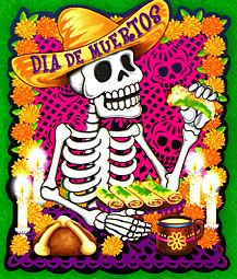 Skeleton eating with Muertos cardboard Dia de Muertos sign