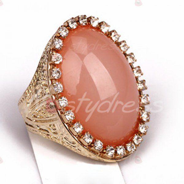 Sweet Diamante Oval Faux Gem Ring For Women
