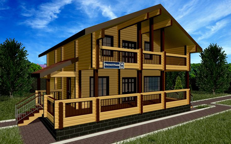 """Шикарный деревянный дом из клеёного бруса площадью 208,91 м2: цена строительства, фото, планы этажей, планировка. Построить дом по этом проекту """"под ключ""""!"""