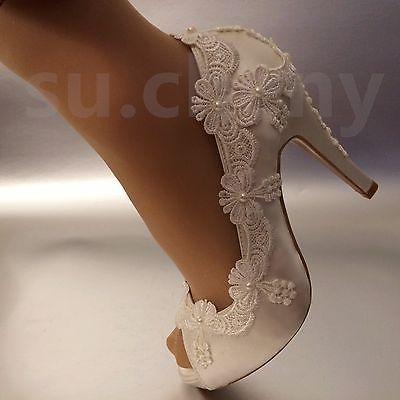 """3 """" 4"""" каблук атласное белого цвета слоновой кости кружево жемчуг с открытым носком Свадебные туфли невесты размер 5-9,5"""