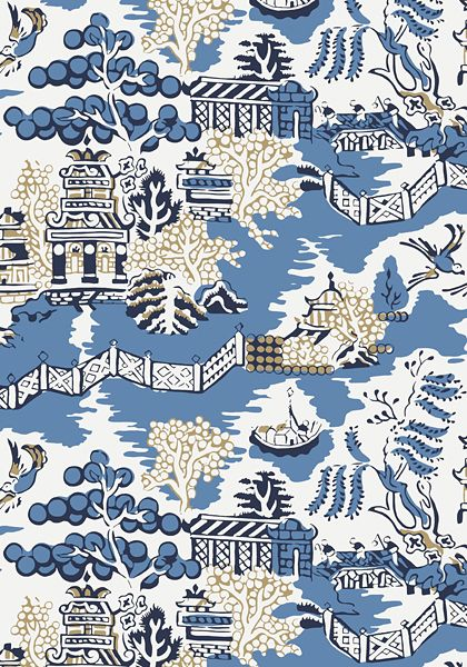 Luzon #wallpaper in #blue. Fall in love with Luzon, a large-scale chinoiserie pattern that elegantly travels on the wall. This pattern is graphic and clean with finite details like fretwork fences and unusual trees. Crisp and upbeat colorways include Aqua and Coral, Grey and Lemon, Green and Raspberry, Blue, Grey and Black, Navy and Beige. All colorways have a coordinating fabric in the same scale, while the Pearl colorway is available as wallpaper only. #Thibaut