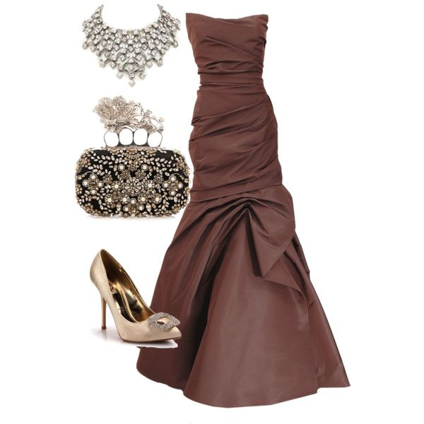 Brown glitz by missy-obrien-strickland on Polyvore featuring polyvore, fashion, style, Monique Lhuillier, Alexander McQueen and Simon Harrison