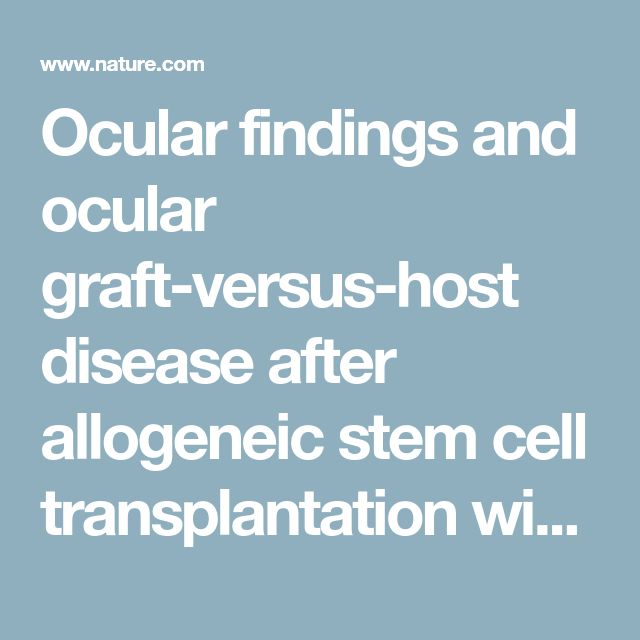 Ocular findings and ocular graft-versus-host disease after allogeneic stem cell transplantation without total body irradiation