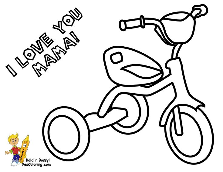 Coloring Page For Mothers Day Of Tricycle