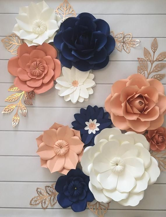 Paper Flowers Wall Decor Floral Nursery Coral Peach Navy Paper Flowers Coral Peach Navy Nursery De Paper Flower Wall Decor Paper Flower Wall Paper Flowers