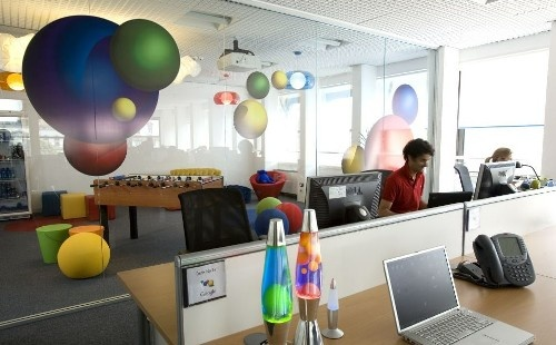 another Google office....see the bubble chair and lava lamps? Reflected in the glass manifestation design