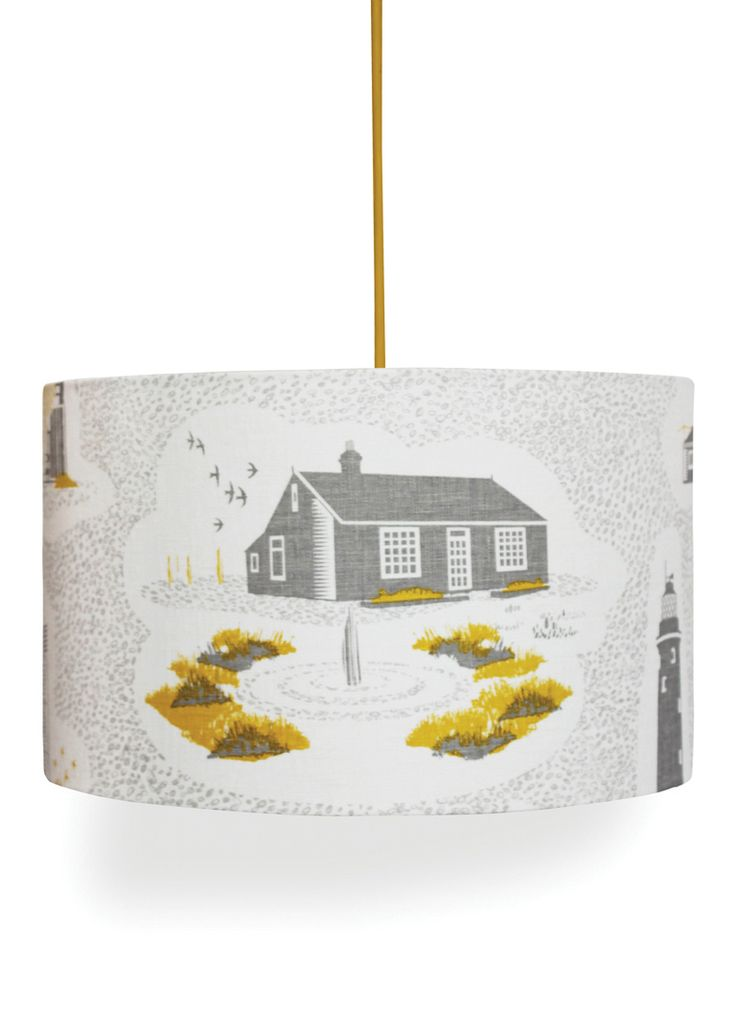 Liven up your living space with a lampshade in the charming Dungeness design by the bright and mighty Mini Moderns. This design is also available as a wallpaper.