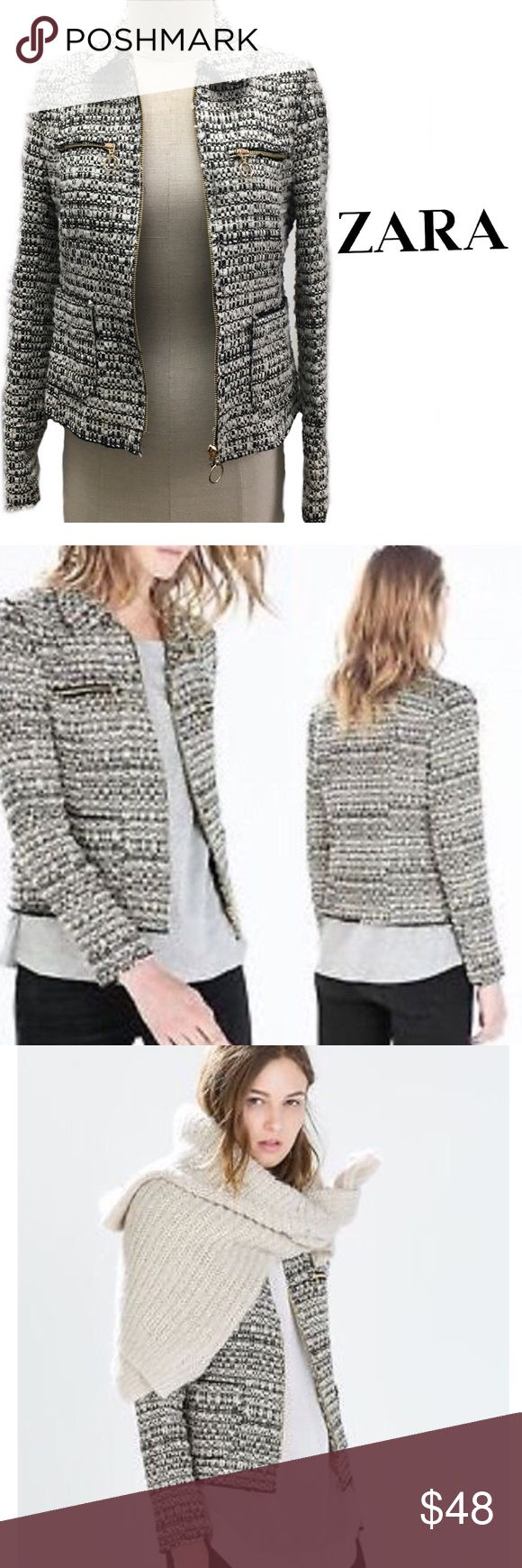 Zara Black and White Tweeted Blaze/Jacket Size XS Stunning New with tags 100% authentic ZARA BLACK AND SILVER TWEED BLAZER CROPPED STYLE THAT IS COMPLETELY SOLD OUT EVERYWHERE, IT'S LIGHT ENOUGH FOR LAYERING. DON'T MISS OUT ON THE HOTTEST JACKET OF THE SEASON AS IT WON'T LAST AS THIS RATE! SEEN ON UK STAR AND OTHER CELEBRITIES/BLOGGERS ITS AMAZING!! TIES ZIPPER Zara Jackets & Coats Blazers