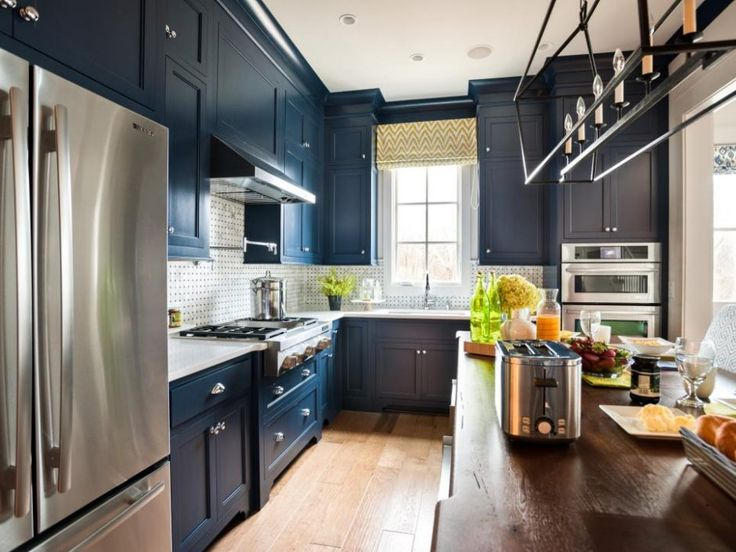 Kitchen Navy And White Transitional With Stainless Steel Refrigerator Large Blue CabinetsKitchen