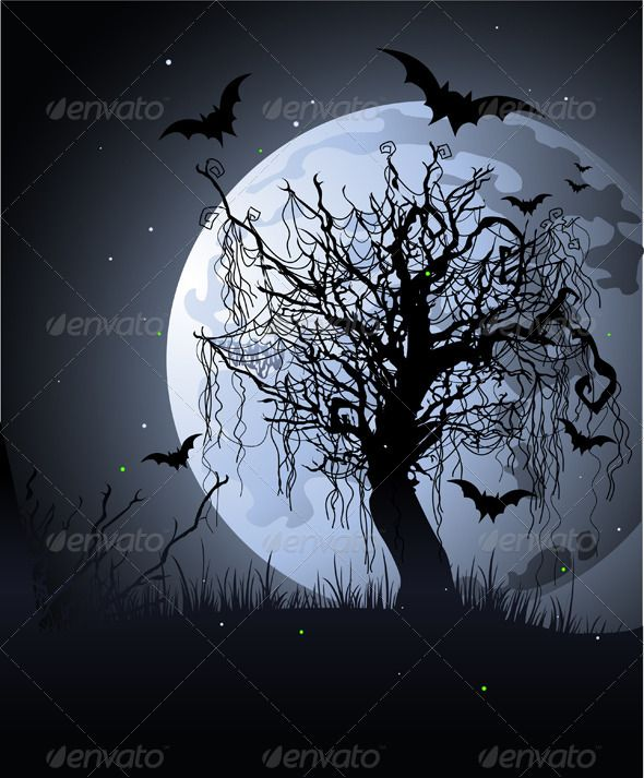 349 best halloween trees images on pinterest halloween for Bat moon tattoo