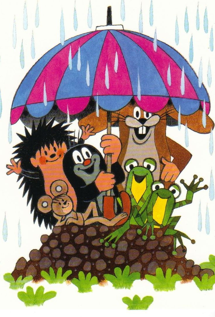 Ansichtskarte Der kleine Maulwurf und seine Freunde im Regen The little mole