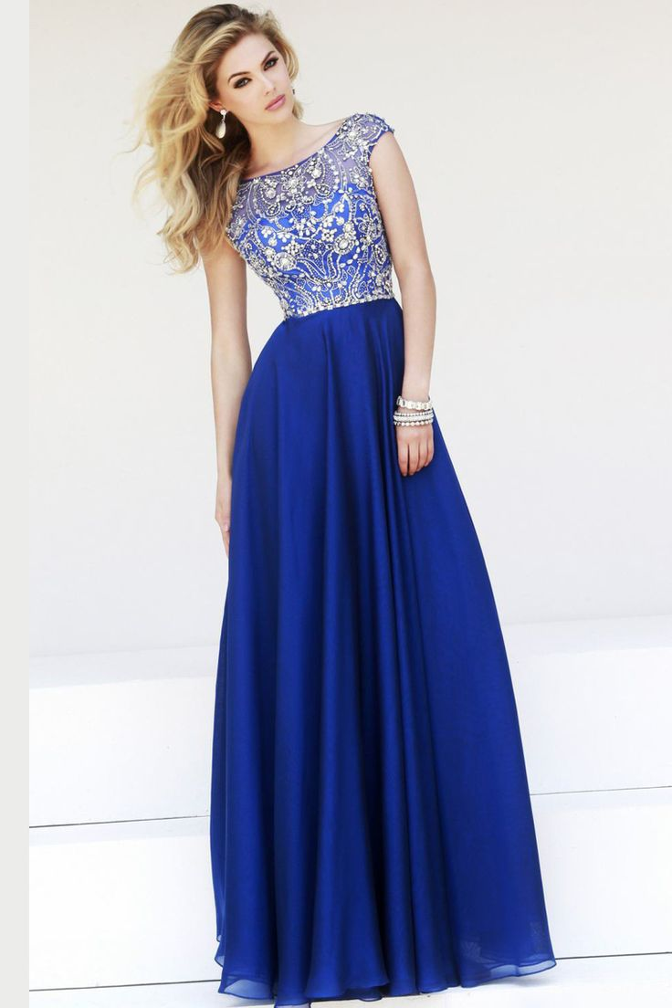2015 Prom Dresses A-Line Scoop Floor-Length Chiffon Dark Royal Blue Beaded Bodice USD 159.99 EPP6YLECKN - ElleProm.com