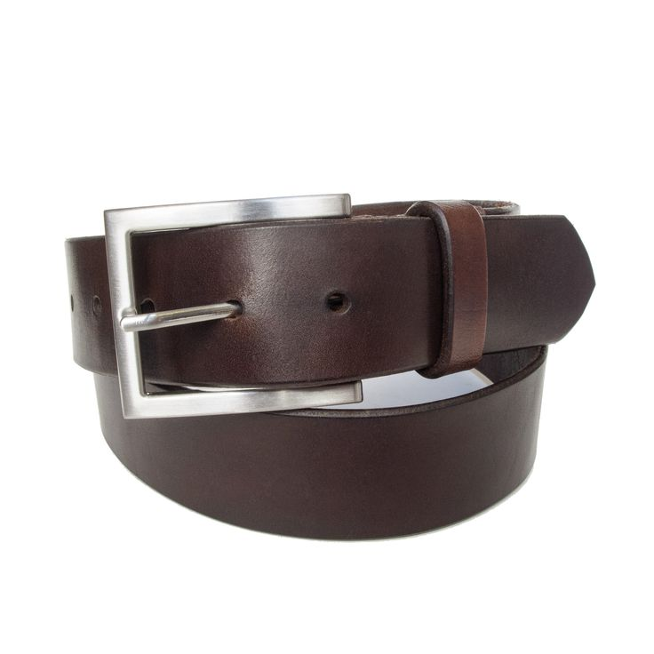 Classic american style brown leather belt with square buckle 40mm