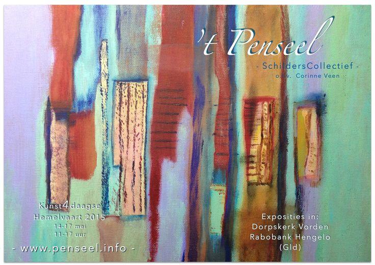Thema Ritmisch Abstract, schilderseizoen 2014-15, schildercursus Corinne Veen, schilderij van Marijan Janssen