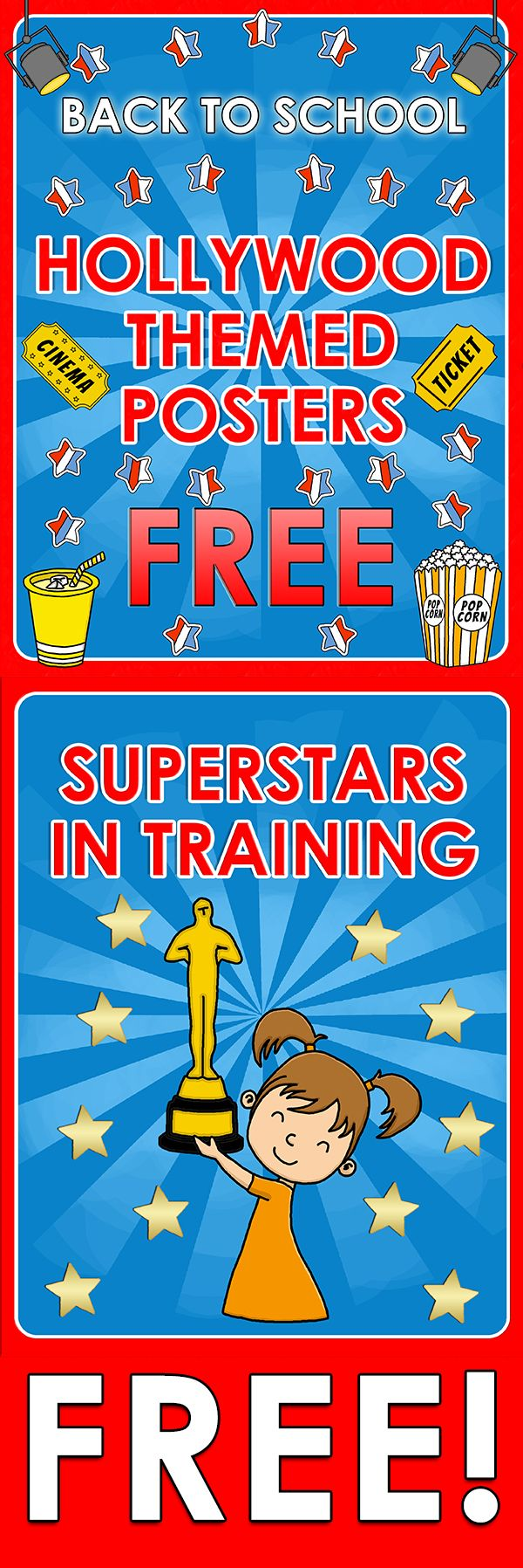 Back to School - Hollywood Themed Posters - FREE  Here you are 4 FREE posters for your Hollywood Themed Classroom!