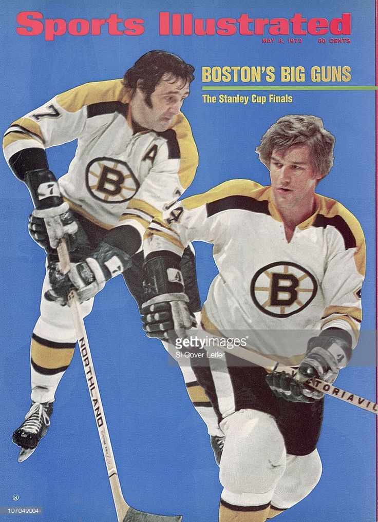 NHL Playoffs: Boston Bruins Phil Esposito (7) and Bobby Orr (4) in action vs St. Louis Blues during Semifinals at St. Louis Arena. St. Louis, MO 4/23/1972--4/25/1972