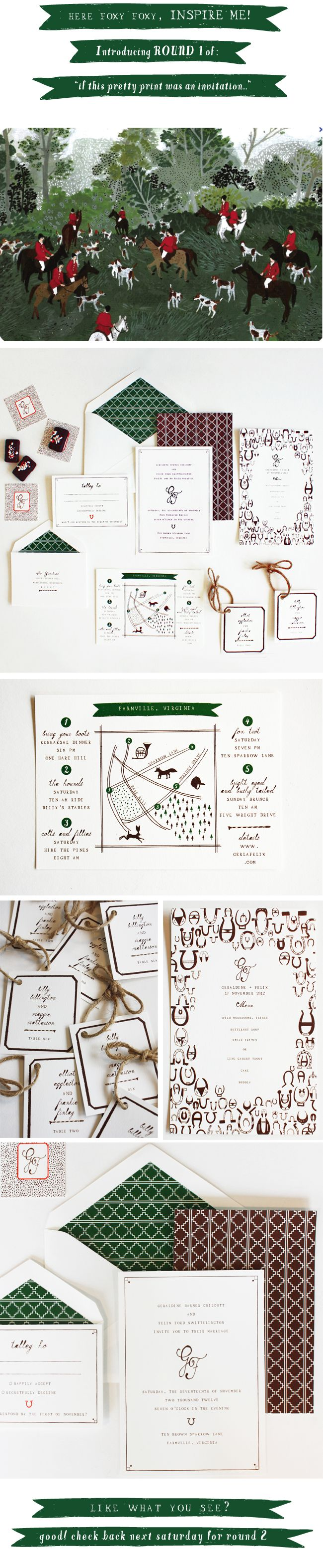 Mr. Boddington foxhunting motif personal stationary. Send out a festive invitation to your party.