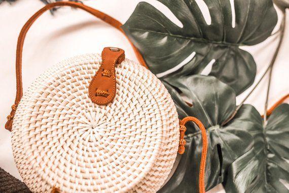Rattan Bag Round 15cm White