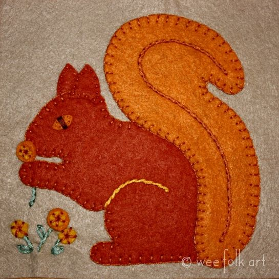 Autumn ~ Squirrel ~ Applique ~ free pattern here ~ http://weefolkart.com/sites/default/files/fall2011/autumn-squirrel-block2.pdf
