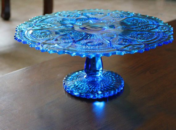 Blue Cake Stand / 13 Vintage Cake Plate by RocheStudioVintage