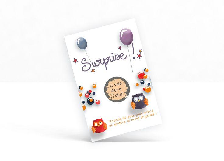 """Carte à gratter personnalisable """"Surprise !"""" - annonce grossesse , heureux évènement, demande à la marraine, au parrain : Cartes par la-chouette-mauve"""