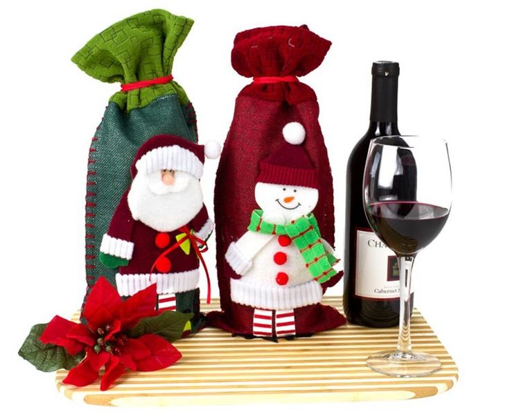 4 Piece Christmas Wine Bottle Cover Set