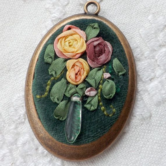 Flower embroidered pendant, green velvet with silk ribbon embroidery, like vintage flower necklace