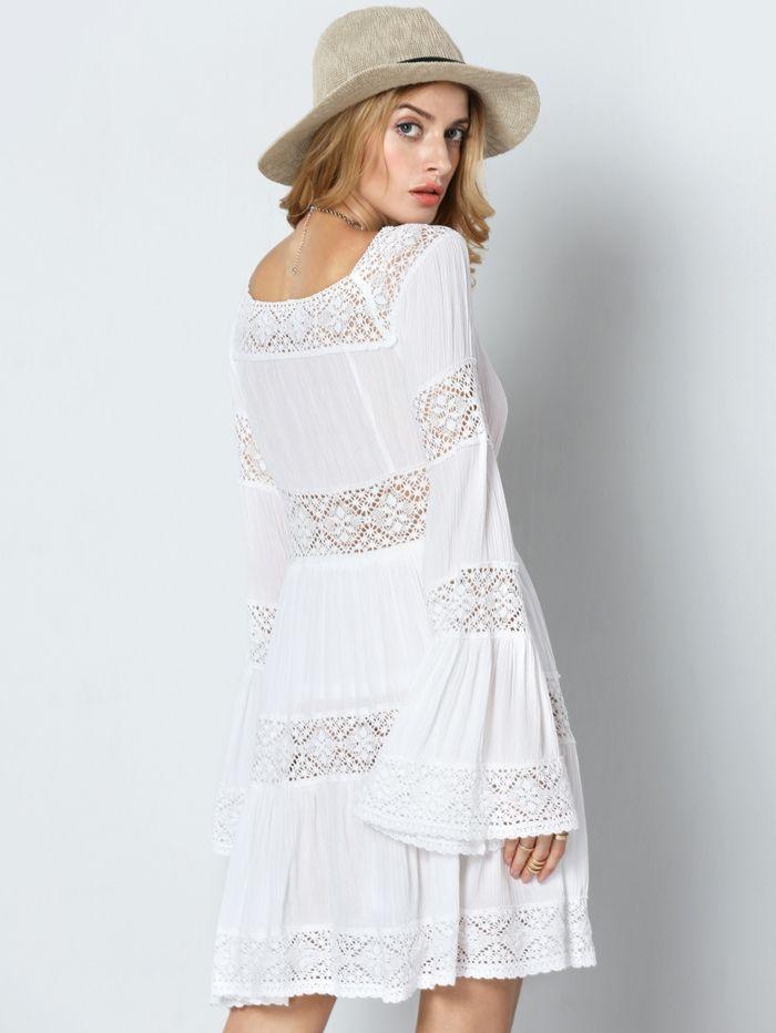 Vestido blanco ibicenco manga larga