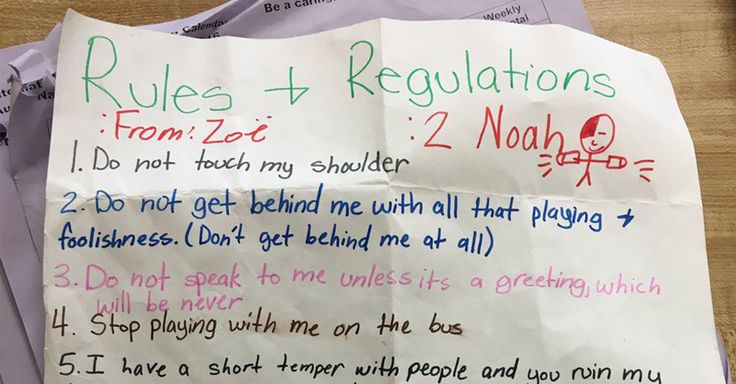 """Tired of Noah's foolishness, Zoë laid down the law by writing a set of """"Rules and Regulations"""" ... and they're both awesome and hilarious."""