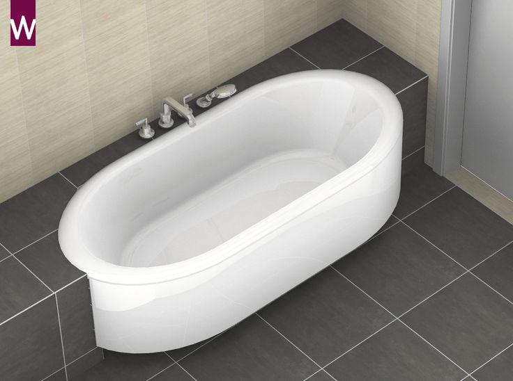 Ruimte besparen in de kleine #badkamer met een ovaal ligbad. Dezelfde inhoud maar het bad neemt minder ruimte in beslag. Lees meer: http://kleinebadkamers.nl/kleine-badkamer-inrichten/een-ovaal-bad-vs-een-recht-bad/