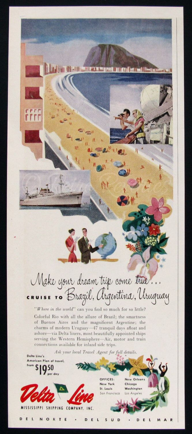1951 Delta Line Cruise Ad - Brazil, Argentina Tourism - 1950s Vacation - Vintage Travel Ads - Watercolor Illustration - Midcentury America by RetroReveries on Etsy https://www.etsy.com/listing/209776096/1951-delta-line-cruise-ad-brazil