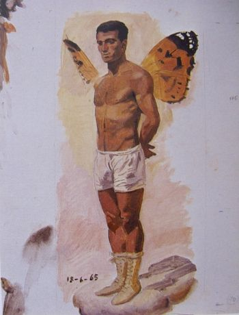 Man with butterfly wings standing, study from life, 1965 by Yannis Tsarouchis.