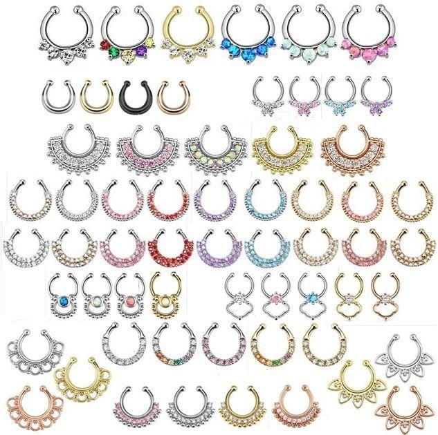 Fake Septum Ring - Non-Pierced CZ Gem Nose 200+ Designs/Colours Faux Hanger