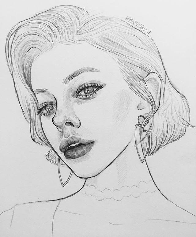 Рисунки женщин карандашом для срисовки