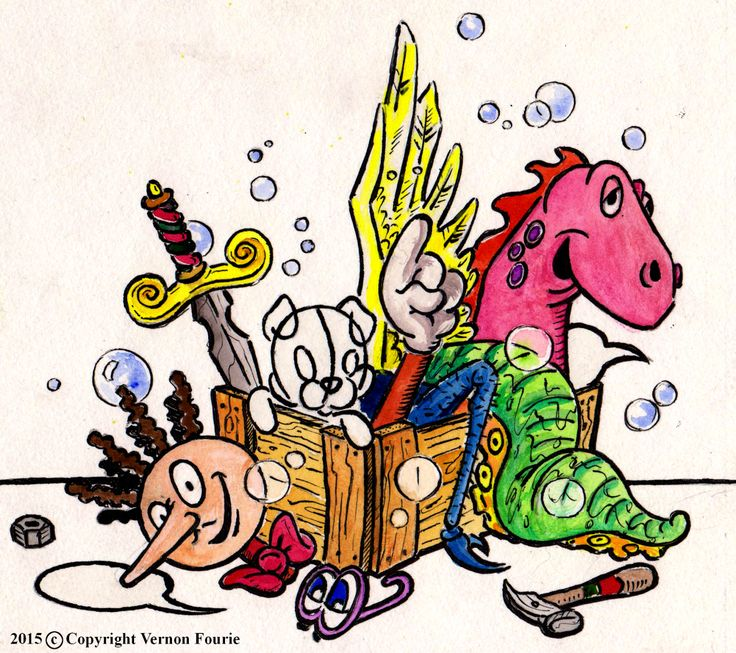 by Vernon Fourie | illo illustration cartoons pen and ink watercolour workshop toolbox wing dinosaur octopus spider sword tools speech bubble character head toonschool