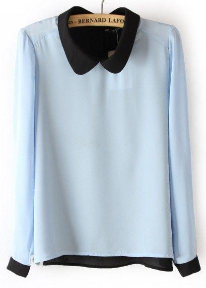 #SheInside Blue Long Sleeve Back Buttons Chiffon Blouse