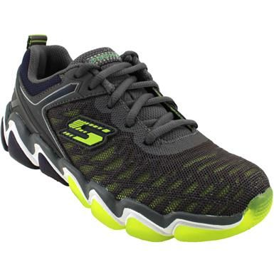 Skechers Skech Air 3 Down Rush Running Shoes - Boys Charcoal Lime