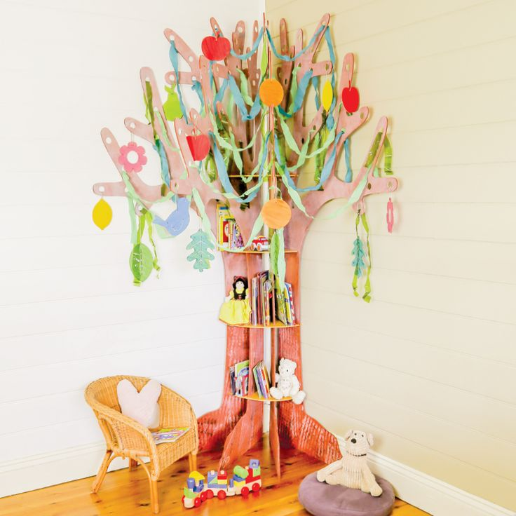 A Wooden Corner Tree can make a beautiful bookshelf for a playroom or kids room!