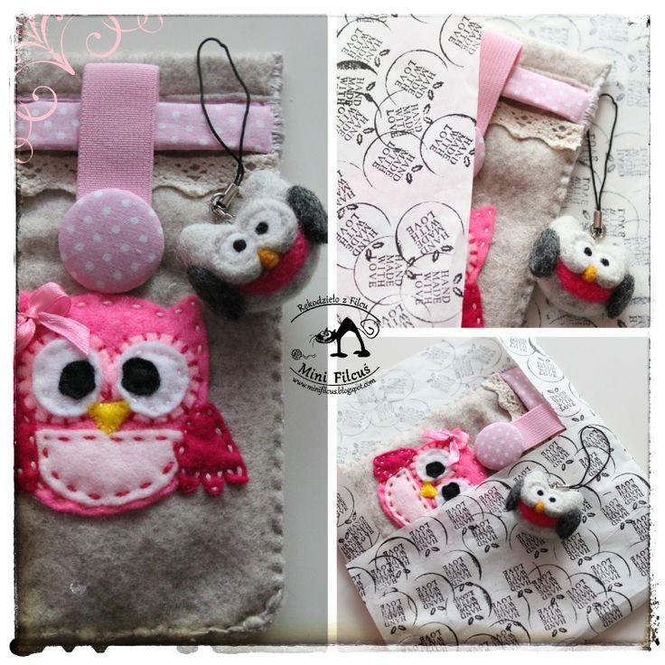 Owl - felt phone pouch http://minifilcus.blogspot.com/2014/03/filcowe-etui-na-telefon-sowka.html