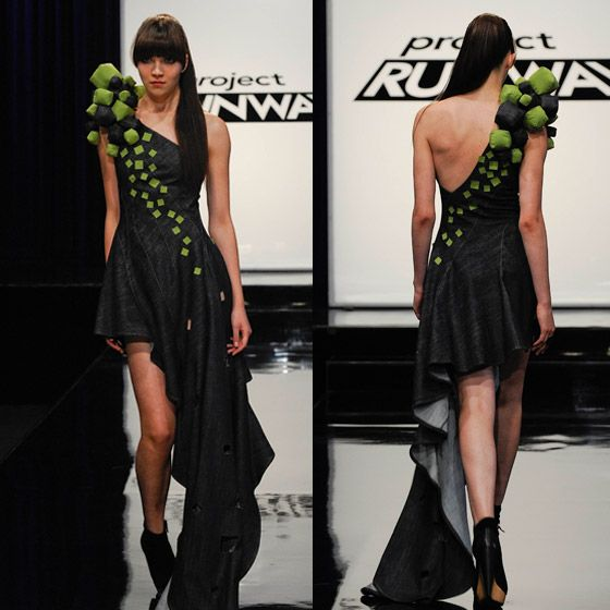 Project Runway Dress Design by Becky Ross: I love the soft squares on this. I want to make some and make a necklace out of them.