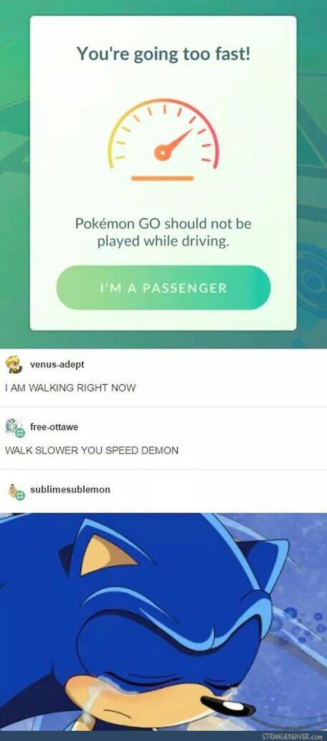 Aww. Once my friend opened Pokemon Go on the toilet and it told her she was going to fast
