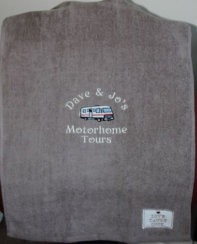 This tea towel was a retirement gift for a couple setting off on a tour of Europe, looking for something a little different, tea towel are great for wall hangings in your home, motor home or caravan, prices start at £12... Thanks Anne x