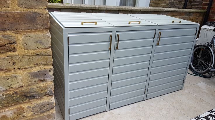 farrow and ball triple wheelie bin store with lift up lids