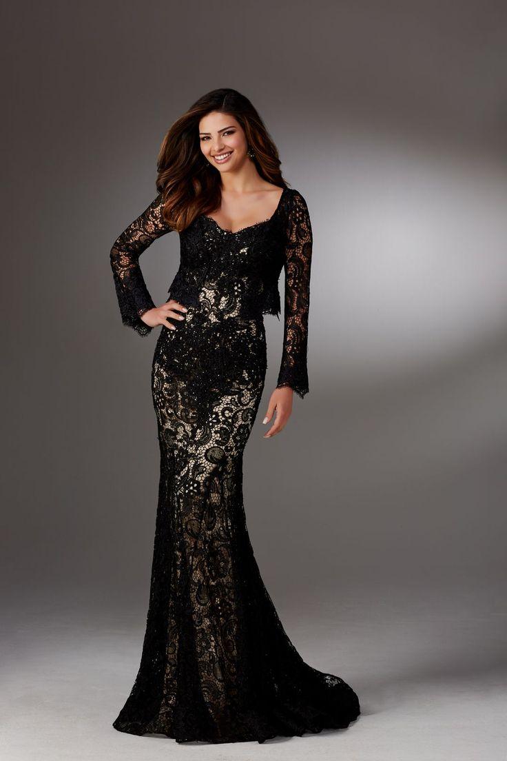 Koronkowa, wieczorowa suknia Mori Lee, na ramiączka z bolerkiem. Lejąca suknia z koronki, z wycięciem na dekolcie i na plecach. …