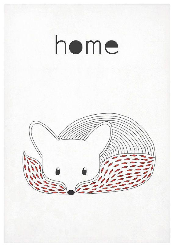 Affiches rétro fox renarde animaux de la forêt style par EmuDesigns
