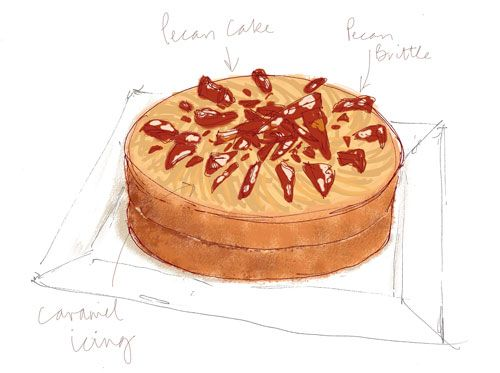 Pecan Nut Cake with Caramel Icing and Pecan Brittle. Made this as a celebration of some good news. Very, very nice. Very nice indeed.